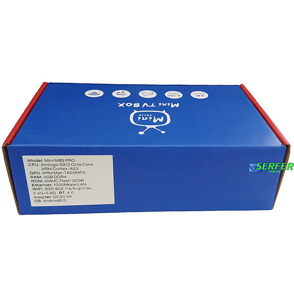 тыл коробки Mini M8S Pro
